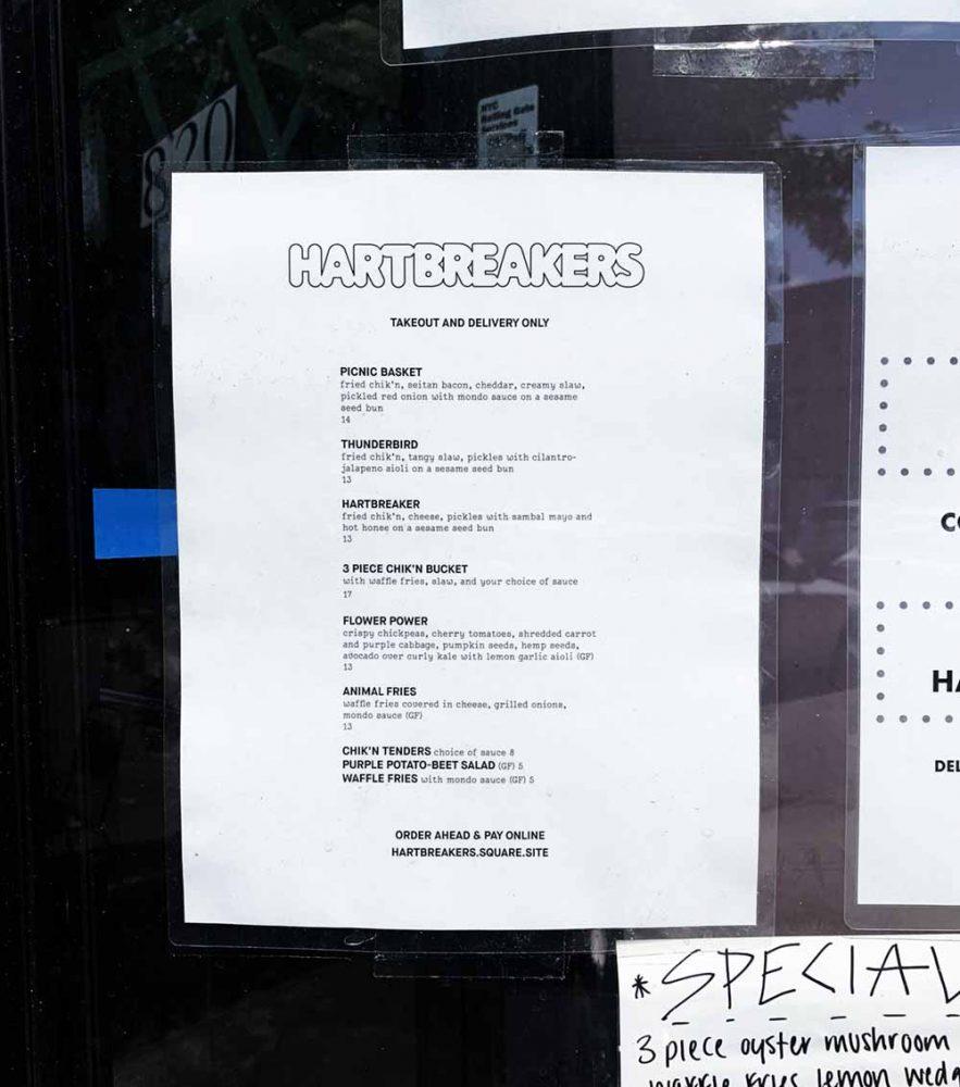hartbreakers menu
